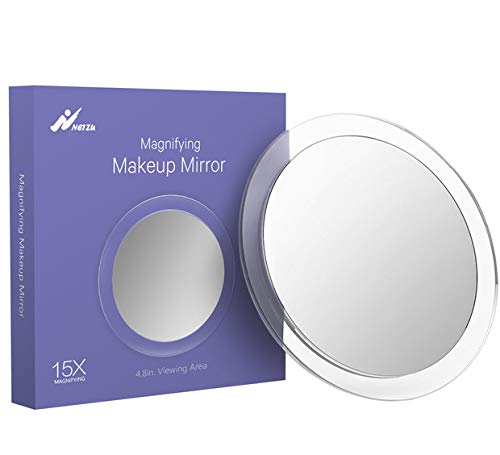 15X Magnifying Suction Cups Mirror, Portable Makeup Mirror with Acrylic Frame for Tweezing, Blackhead, Blemish Removal, Easy Mounting for Bathroom by Netzu