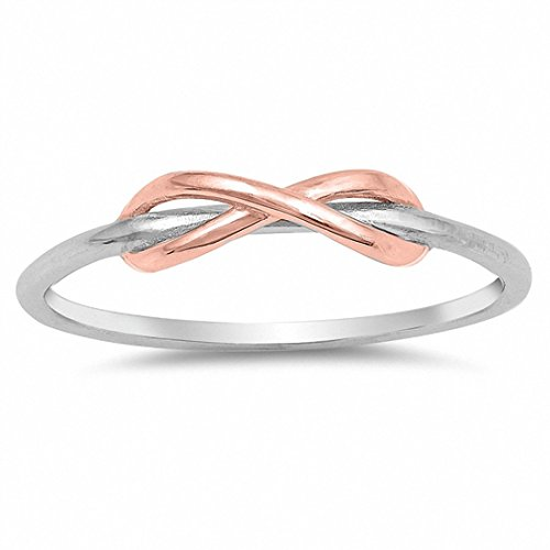 Blue Apple Co. Tangled Knot Two Tone Infinity Band Ring Petite Dainty Rose Tone 925 Sterling Silver, Size-3