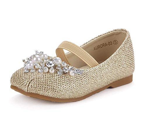 DREAM PAIRS Little Kid Aurora-03 Gold Glitter Girl's Mary Jane Princess Party Dress Flat Shoes Size 3 M US Little Kid]()