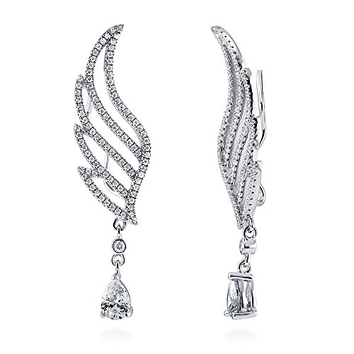 BERRICLE-Rhodium-Plated-Sterling-Silver-Cubic-Zirconia-CZ-Angel-Wings-Fashion-Statement-Ear-Crawlers