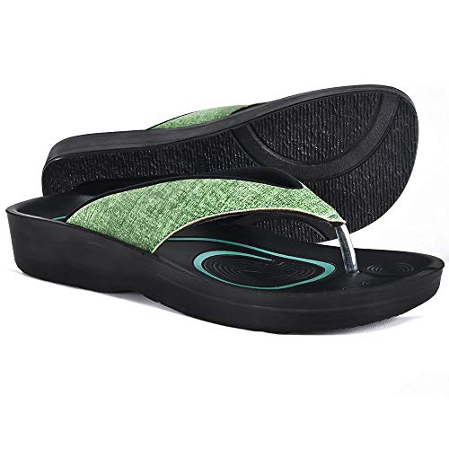 AEROTHOTIC Original Orthotic Comfort Thong Sandal and Flip Flops with Arch Support for Comfortable Walk (US Women 11, Mellow Green)