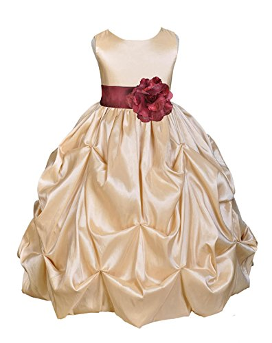Wedding Pageant Champagne Bubble Pick-up Kid Flower Girl Dress 301s m