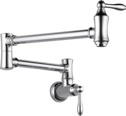 Delta Faucet Traditional Wall-Mount Pot Filler Faucet, Chrome 1177LF