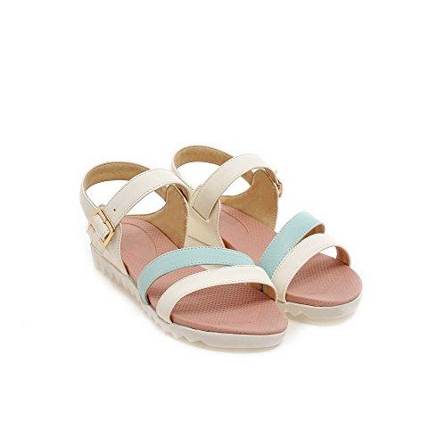 Amoonyfashion Donna Materiale Morbido Open Toe Tacco Basso Fibbia Di Colore Assortiti Zeppe-sandali Blu