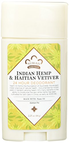 Nubian Heritage Deodorant - all Natural - 24 Hour - Indian Hemp and Haitian Vetiver - with Neem Oil - 2.25 Ounce - Pack of 2 ()