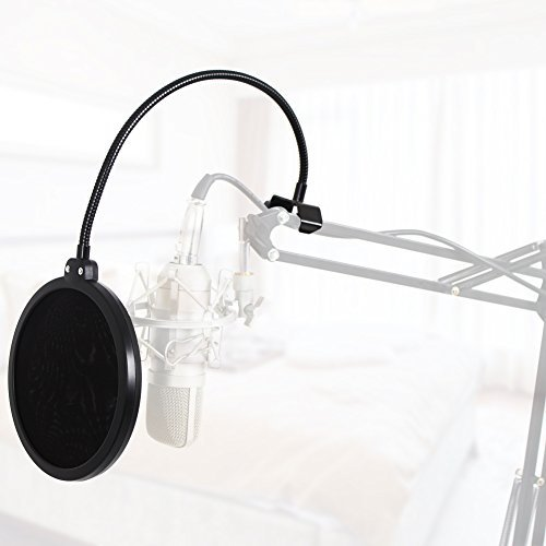 InnoGear Updated Microphone Pop Filter Dual Layer Mic Pop Shield with Clip Stabilizing Arm for Recording Vocals Home Studio Broadcasting - Image 4