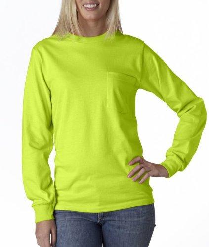 Gildan Ultra Cotton 6 oz. Long-Sleeve Pocket T-Shirt (G241)- SAFETY GREEN,L ()