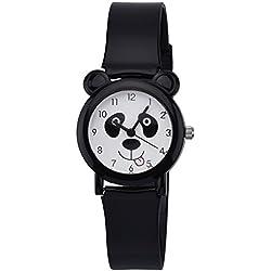 Zeiger Children Kids Girls Cartoon Panda 3D Silicon Band Watch Black 067 (Black)
