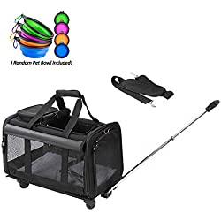 Coopeter Pet Carrier Stroller with Wheels for Travel and Outdoor,Easy to Fold,Durable Mesh Panels & Washable Fleece Mat ... (Black)