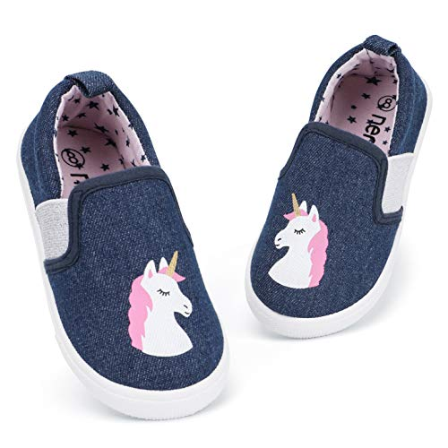 RANLY & SMILY Toddler Shoes Girls, Kids Slip On Sneakers Canvas Walking Shoes Unicorn Navy/Pink 9 M US Toddler