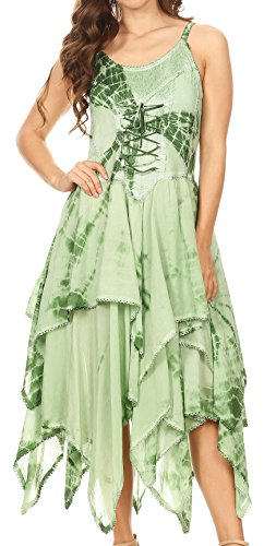 - Sakkas 902 Annabella Corset Bodice Handkerchief Hem Dress - Green - One Size Plus