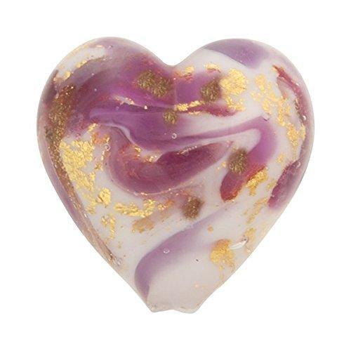 Heart 13mm Gold Foil Murano Glass Bead Purple and Aventurina, Marmo -