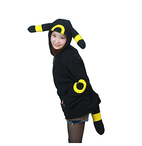 Datangep Black Umbreon Costume Hoodie for Spring or Autumn S (Racoon Tail)