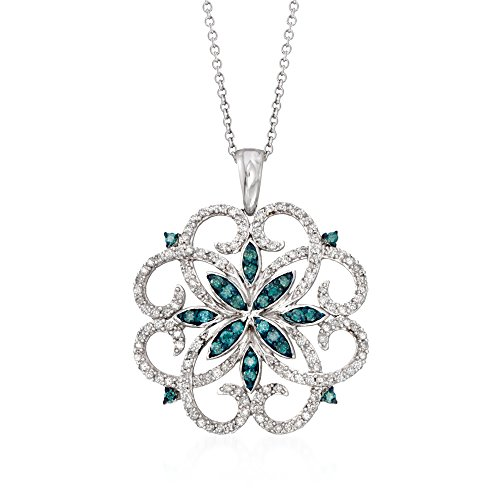 Ross-Simons 0.76 ct. t.w. Blue and White Diamond Scrolling Medallion Pendant Necklace in Sterling ()