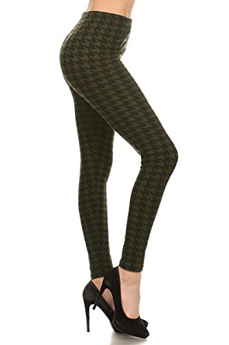 R570-OS Olive Houndstooth Print Fashion Leggings (Best Looks With Leggings)