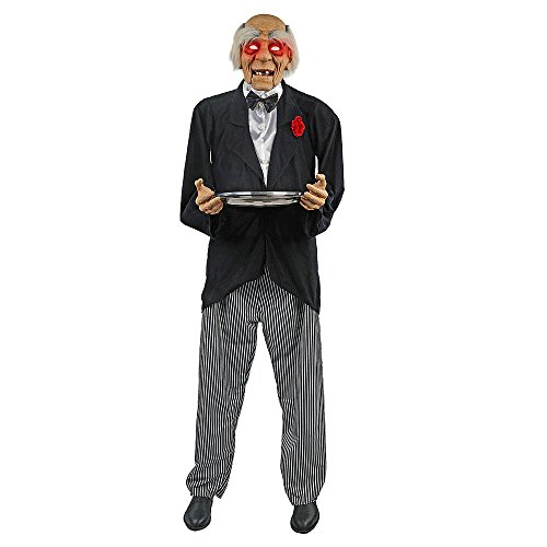 [Halloween Decorations. This 72'' Animated Talking Butler w/ Lights & Sound Best For Scary, Spooky & Fun Party. Great Outdoor & Indoor Decor Supplies & Equipment For Home, Office, Lawn, Patio & Garden.] (Life Size Halloween Butler)