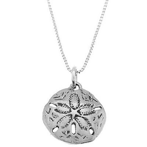 Oxidized Sand - Sterling Silver Oxidized One Sided Beach Sand Dollar Necklace (16 Inches)