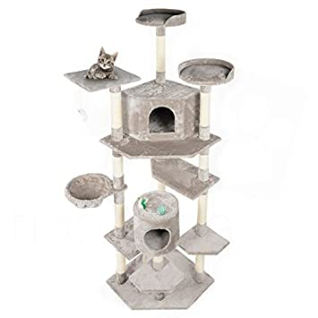 Parque de juegos rascador para gatos, de 203 cm, gris: Amazon.es: Bricolaje y herramientas