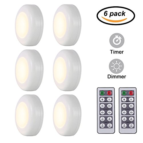 KINDEEP Wireless LED Closet Lights, Dimmable Puck Lights Operated with Remote Control, Kitchen Under Cabinet Lighting, Aisle Tap Night Lamp, Battery Powered, 4000K Natural White - 6 Pack