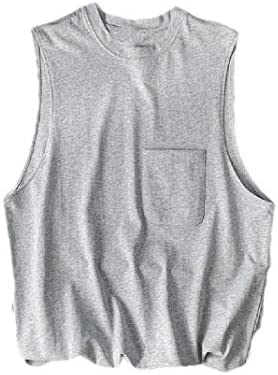 Men 100% Cotton Sleeveless Crew Neck Solid Color Loose Summer Tank Tee
