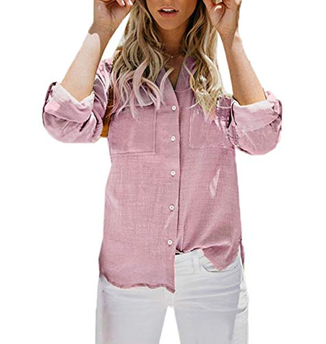 Hauts Revers Chemises Tee Rose Blouses JackenLOVE Tops Shirts Manches Longues Chemisiers Automne Mode Casual Printemps Femmes xqRpY