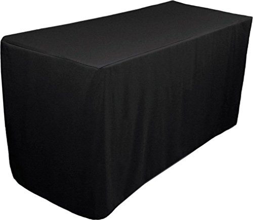 Fitted Tablecloth - 6 Feet - Rectangular Table Cover - Fitted 30 by 72 inches - 100 Percent Polyester - by Utopia Kitchen (black) ()