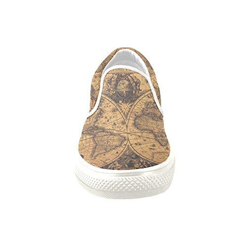 D-Story Custom Sneaker Retro World Map Women Unusual Slip-on Canvas Shoes JR3GMAE8z
