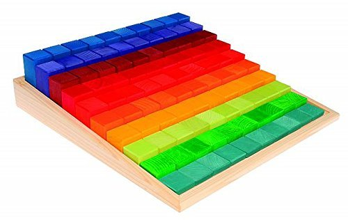 Grimm's Large Stepped Counting Blocks in Storage Tray - Set of 100 Wooden Pieces (4x4 Size)