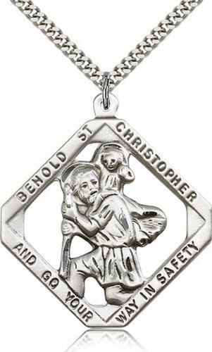 Icecarats Créatrice De Bijoux En Argent Sterling St. Christopher Pendentif 1 3/4 X 1 1/2 Pouce