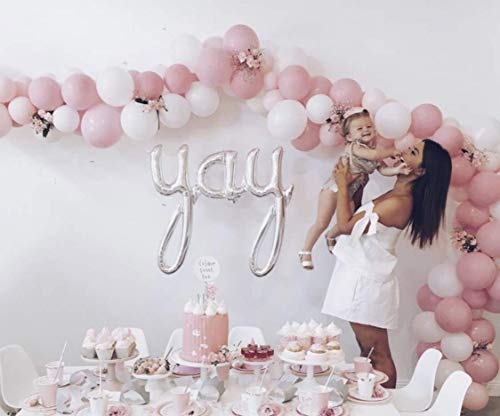 12 3.2 Helium Quality Matte Latex Balloons - Light Pink And White. Perfect For Any Special Occasion,Baby Shower &1st Birthday Girl, Sweet Sixteen & Bridal Shower And Other Parties -100 Count.