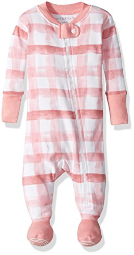 Footed Water - Burt's Bees Baby Baby Girls' Organic Print Zip Front Non-Slip Footed Sleeper Pajamas, Waterlily Buffalo Check, 18 Months