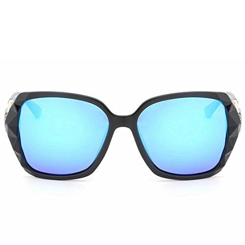 Blue UV Lunettes Soleil Lunettes à de Sakuldes Protection Color de Soleil polarisée Monture Blue à Vintage Gray Large Femme BqxFEn0UnX