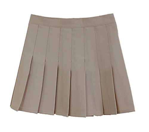 (Women School Uniforms plaid Pleated Mini Skirt Khaki a 6)