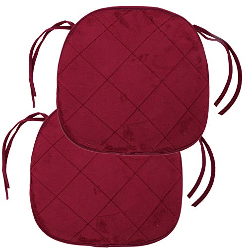 Trenton Gifts Quilted Memory Foam Cushioned Chair Pads with Ties | Set of 2 | Burgundy