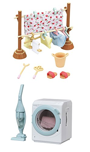 2 Sets – Washing and Cleaning Theme – Clothesline and Washing Machine with Vacuum Cleaner (Japan Import)