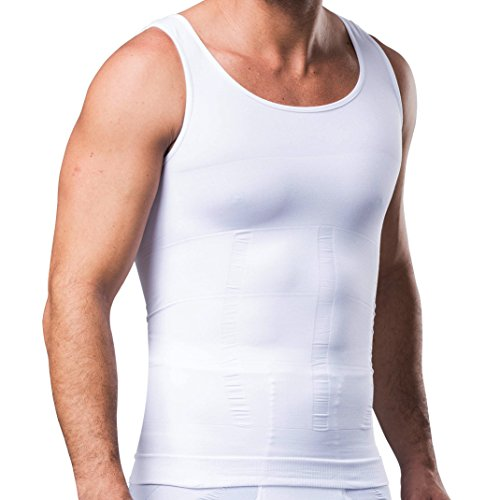 Hanerdun Mens Slimming Body Shaper Vests Undershirt Abs Abdomen Slim, White, Large (Shaper Vest Mens)