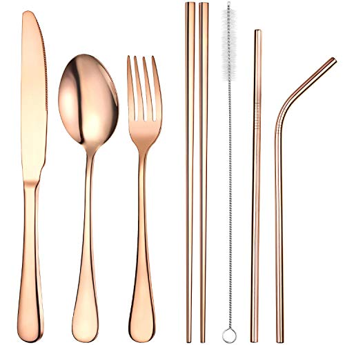(Boao Stainless Steel Flatware Set Reusable Cutlery Set Travel Utensils Set with Straws for Camping Office or School Lunch, Set of 7 (Rose Gold))