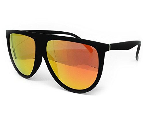 O2 Eyewear 7166 Premium Soft Oversize Mirror Revo Designer Flat Top Womens Mens Sunglasses (Oversize, - Female Designers Top