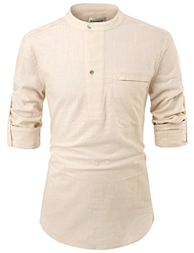 NEARKIN NKNKN381 Mens China Collar Henley Neck Roll-Up Sleeve Basic Linen Shirts Beige US XXL(Tag Size 2XL)