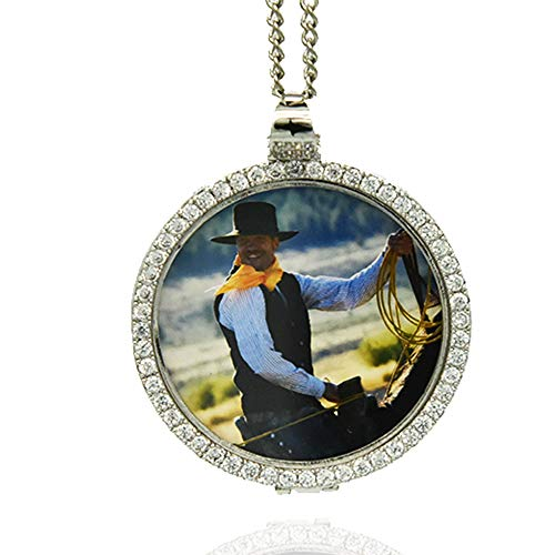 Dream Fly Custom Photo Pendant Personalized Gifts Locket Necklace Hip Hop Jewelry,Gold or Silver+18in,20in,24in,30in for Man and Women (Silver, 18)