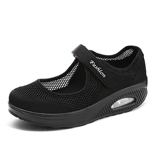 EXEBLUE Women's Casual Walking Shoes Platform Shoes Nursing Shoes Breathable Work Sneakers Black