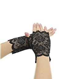 uxcell® Women Scalloped Trim Floral Lace Fingerless Gloves Pair Black