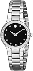 Movado Women's 0606491 Serio Stainless Steel Black Diamond Marker Museum Dial Watch