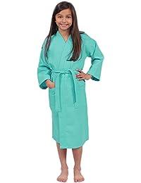 Girls Waffle Robe, Spa Party Bathrobe Made In Turkey
