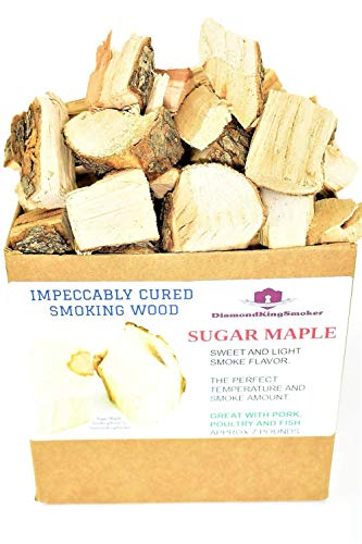 (DiamondKingSmoker Sugar Maple Smoking Wood Chunks 100% All Natural Barbecue Smoker Chunks for Grilling and BBQ | Large Cut Smoker Chips | Impeccably Cured for Premium Flavor Profile (7lbs))