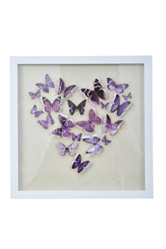 "- Green Frog 3D Purple Butterfly Shadow Box Art 14"" x 14"" x 1"" Quality Plastic Frame, Plexiglass, Paper Cut Out Butterflies Girls/Kids Bedroom Wall Art"