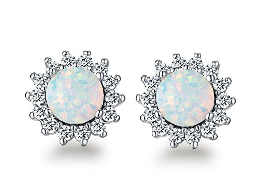 6mm Round Flower Opal Earrings- 18K White Gold plated Cubic Zirconia Stud Earring for Women Girls (White Opal Flower)