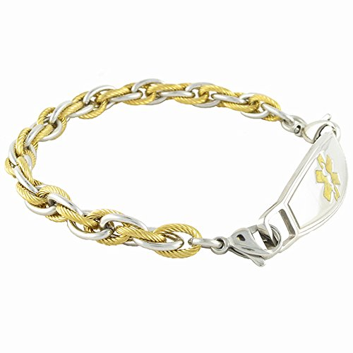Women's Medical Alert ID Bracelet Custom Engraving Included - Gold & Silver Rope - Pegasus - Gold, 6.75