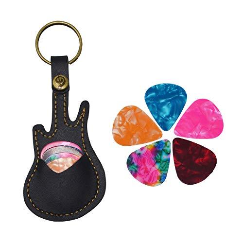 - Guitar Pick Holder Leather Keyring Keychain Case for Guitar Pick Bag with 5Pcs Plectrums Gift