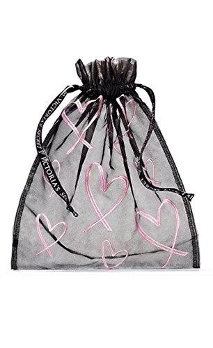 - Victoria's Secret Drawstring Mesh Lingerie Pouch Black Pink Hearts